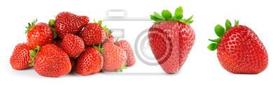 Sticker Strawberry on white background. Fresh sweet fruit closeup.