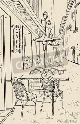 Sticker Street cafe in old town sketch illustration.