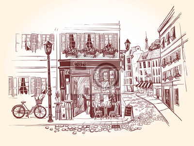 Sticker Street cafe on the corner of an old building in a french city. Bicycle with a bottle of wine and a long loaf and billboard menu next to the old cafe. Vector illustration in vintage style.