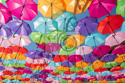 Sticker Street decoration colorful umbrellas background