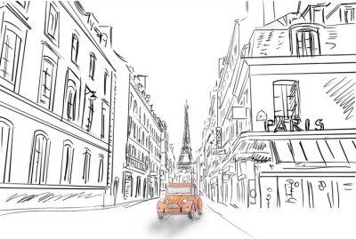 Sticker Street in paris - sketch  illustration