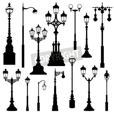 Sticker Street lamp réglé. Éclairage collection rétro.