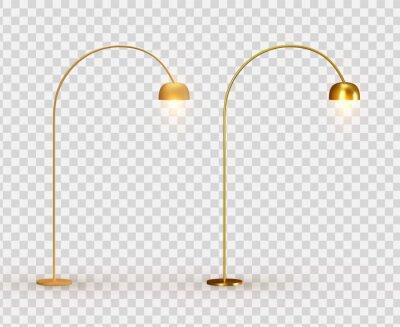 Sticker Street lights. Set Golden lantern. lamps Realistic metallic color. Set Object isolated. Vector illustration