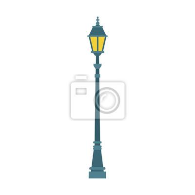 Sticker Streetlight vintage lamp icon, colorful flat design