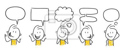 Sticker Strichfiguren / Strichmännchen: Kommunikation, Sprechblasen. (Nr. 450)