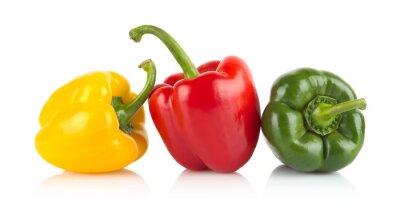 Sticker Studio, coup, rouge, jaune, poivrons verts isolé sur blanc