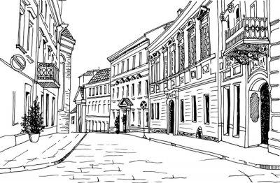 Sticker Style de croquis dessiné à la rue de la vieille ville. Petite ville européenne. Paysage urbain sur fond blanc