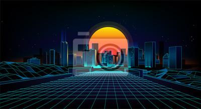 Sticker Style de paysage rétro des années 1980 Ville de fond de Sci-Fi des années 80 rétro Landscape.F vague rétro de fond.