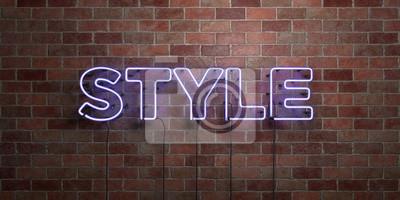 Sticker STYLE - fluorescent, néon, tube, signe, briquetage, -, vue, 3D, rendu Peut être utilisé pour les bannières en ligne et les publipostages ..