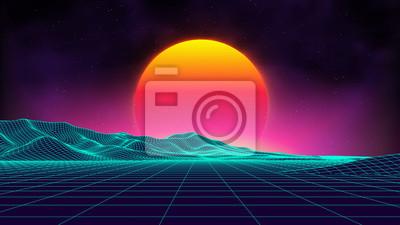 Sticker Style rétro arrière-plan futuriste du style des années 1980. Digital cyber surface du paysage rétro. Modèle de couverture d'album de musique rétro: soleil, espace, montagnes. Contexte de l'arrière-pla