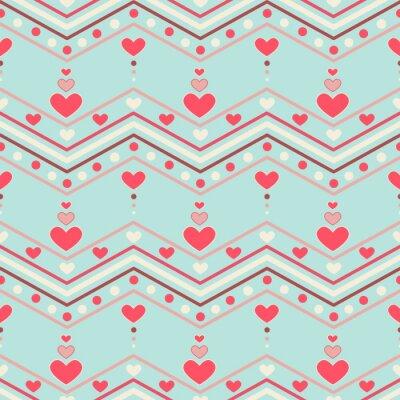 Sticker Style rétro chevron pattern avec des coeurs