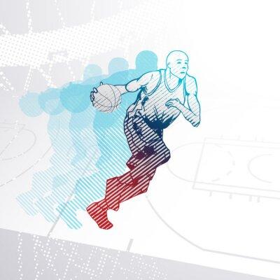 Sticker Stylisé, basket-ball, joueur, dribble, balle