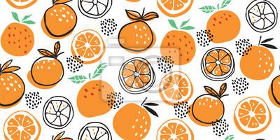 Sticker Stylish citrus oranges fruits seamless pattern