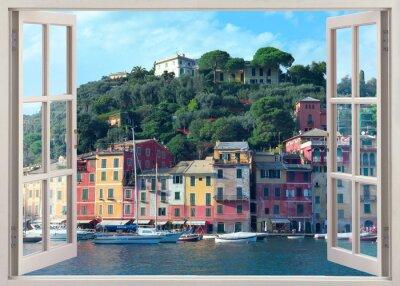 Sticker Stylo, fenêtre, vue, vieux, Portofino, Italie