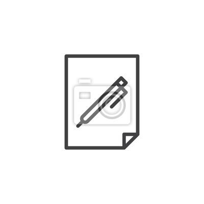 Sticker Stylo Sur Licône De Ligne Document Papier Contour Vector Signe