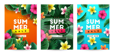 Sticker Summer background with tropical flowers and palm leaves. Vector illustration