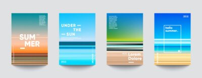 Sticker Summer backgrounds set. Creative gradients in summer colors. Ocean horizon, beach and sunsets.