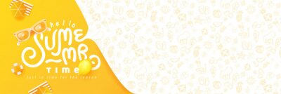 Sticker Summer banner design with beach accessories on the yellow background and copy space.