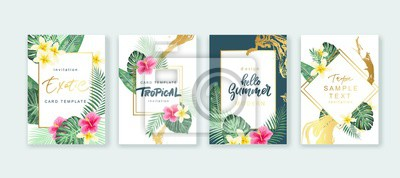 Sticker Summer card design. Save the date. Exotic tropic palm leaves and flowers. Invitation, poster, cover template. Geometric and floral frame.