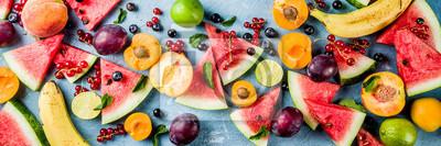 Sticker Summer food food concept, divers fruits et baies pastèque pêche menthe prune abricots myrtille cassis, créatif plat poser sur fond bleu clair espace copie vue de dessus