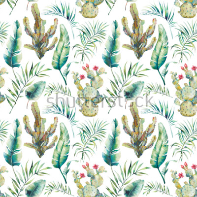 Sticker Summer palm tree, cactus and banana leaves seamless pattern. Watercolor green branches and flowering succulent on white background. Exotic wallpaper design