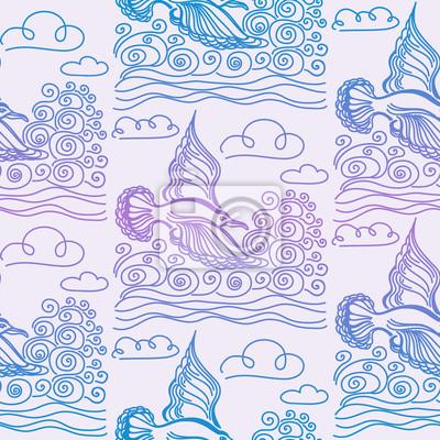 Summer sea seamless pattern. Illustration of bird seagull, sky