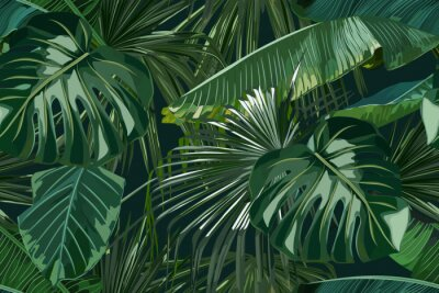 Sticker Summer seamless pattern with tropical palm leaves. Jungle fashion print. Hawaiian background. Vector illustration