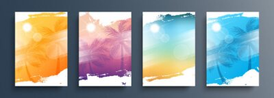 Sticker Summertime backgrounds set with palm trees, summer sun and brush strokes for your graphic design. Sunny Days. Vector illustration.