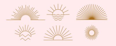 Sticker Sun logo design templates. Vector set of linear boho icon and symbols. Minimalistic line art design elements for decorating, social network, and poster. Abstract collection isolated on pink background