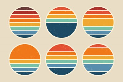 Sticker Sun retro badge and emblem set. Abstract ocean view background inside circles shapes with geometric vintage distressed style. Perfect for sticker, logo, icon, t-shirt or any purpose.