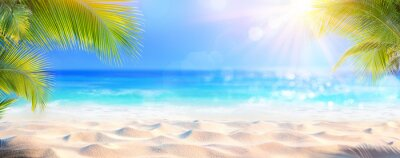 Sticker Sunny Tropical Beach With Palm Leaves And Paradise Island