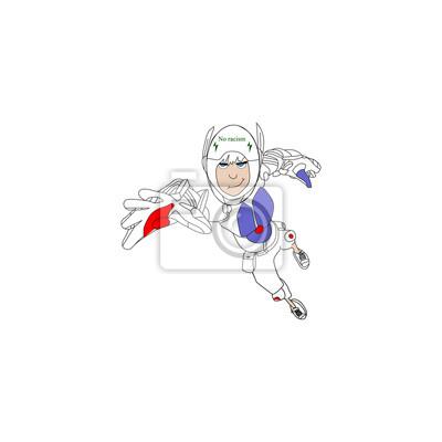 Super-héros dessin animé robot sur un fond blanc
