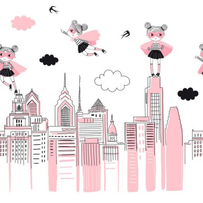 Sticker Supergirls cartoon characters in the city fly above and stand on buildings. Girlish Superhero themed seamless border pattern. Vector doodle graphics. Perfect for little girl design like t-shirt
