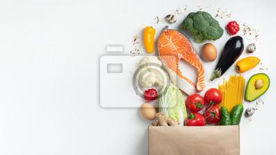 Sticker Supermarket. Paper bag full of healthy food.