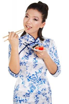 Sticker Sushi, femme, tenue, sushi, baguettes