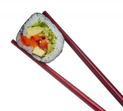 Sticker Sushi roll en baguettes isolé sur fond blanc