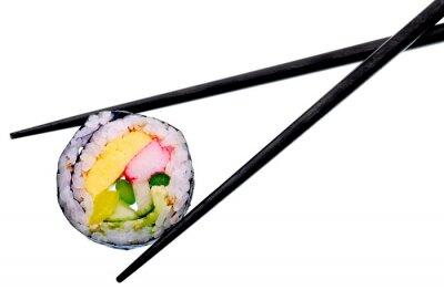 Sticker Sushi, rouleau, noir, baguettes, isolé, blanc, fond