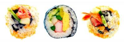 Sticker Sushi, rouleau, riz, isolé, blanc, fond