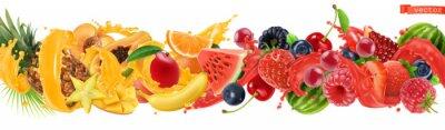 Sticker Sweet tropical fruits and mixed berries. Splash of juice. Watermelon, banana, pineapple, strawberry, orange, mango, blueberry, cherry, raspberry, papaya. 3d vector realistic set. High quality 50mb eps