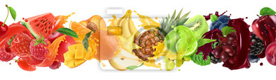 Sticker Sweet tropical fruits and mixed berries. Splash of juice. Watermelon, banana, pineapple, strawberry, orange, mango, lime, blueberry, grapes, apple. 3d vector realistic set. High quality 50mb eps