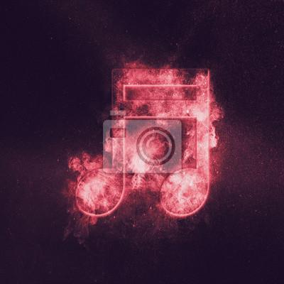 Sticker Symbole de note de musique rayé seizième. Fond de ciel de nuit abstraite