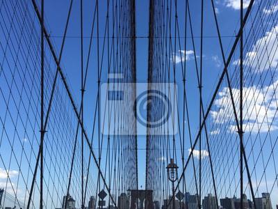 Symétrie, pont, pont, bâtiments, bleu, ciel, nouveau, York