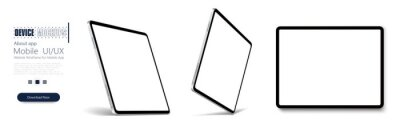 Sticker Tablet frame less blank screen, rotated position. Tablet from different angles. Mockup generic device set. . UI/UX Template for infographics or presentation 3D realistic graphics tablet.