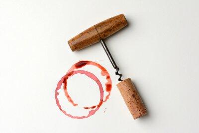 Sticker Tache de vin et tire-bouchon antique