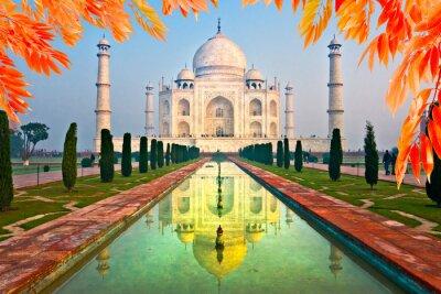 Sticker Taj Mahal au lever du soleil, Agra, Uttar Pradesh, Inde.