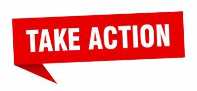 Sticker take action speech bubble. take action ribbon sign. take action banner