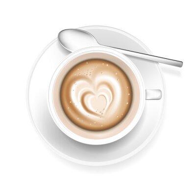 Sticker Tasse, café, coeur, FORME, mousse