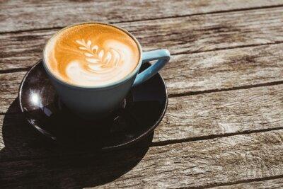 Sticker Tasse, cappuccino, café, art, bois, table