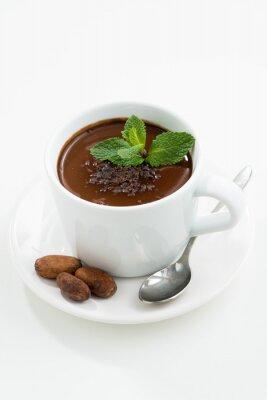 Sticker Tasse, chaud, menthe, chocolat, blanc, table, vertical