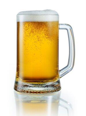 Sticker Tasse de bière légère isolé sur fond blanc. Avec le tracé de pa